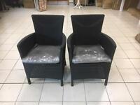 Allibert Iowa garden chairs on Dark anthracite finish with dark grey cushions