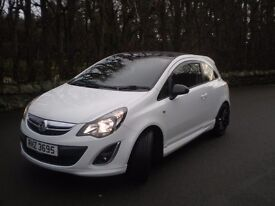 Beautiful White Vauxhall Corsa Limited Edition, July 2013, black alloy wheels, see photos.