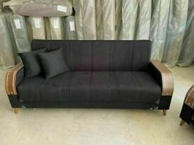 🤘🏻💓2020 HUGE 50% OFF TURKISH DESIGN FABRIC STORAGE SOFA BEDS SETTEE BLACK BROWN GREY SOFABED