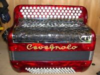 Cavagnolo, (French Made), 2 Voice, 4 Row, Chromatic C System, 80 Bass Accordion.