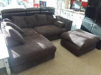 Dark Brown Fabric Corner Sofa, 2 Seater and Footstool