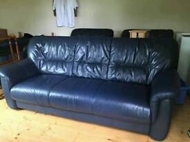 Leather Sofa & 2 armchairs. Navy