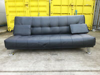 Leather Sofa Bed Black Other -DELIVERY AVAILABLE