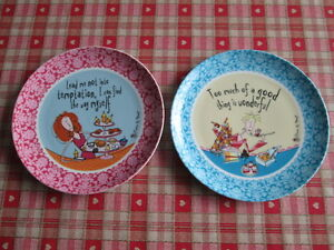 TEMPTATION CAKE EATING PLATES FROM BORN TO SHOP BY JOHNSON BROS NEW