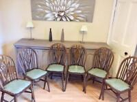 6 oak farmhouse kitchen retro chairs with green leather seat
