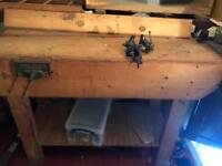 Carpenter wooden work bench with two vices
