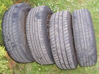 SET OF 175 65 14R TYRES WITH WHEELS, COMING FROM CORSA C