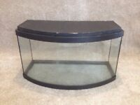 Bow Glass FISH TANK 50 LITRE, with LED lighting, Heater, Pump, stones, plants