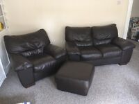 Dark brown leather sofa set, including 2 seater, armchair and large square footstool
