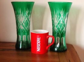 A Pair of Bohemian Art Emerald Glass 22cm Green Cut Etched Vases