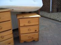 Pine Single Bed /Bedside table/Small chest of draws all 3 Items One Price