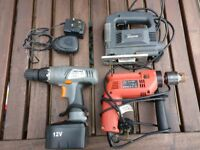12v Battery Drill and Charger - 500w Hammer Drill - 400w Jigsaw - All in full working order