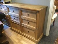 Large pine chest of 6 drawers