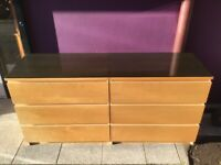 Maple Ikea malm double drawer chest with glass top