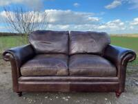 Beautiful Chesterfield Laura Ashley Distressed Brown Leather 2 Seater Sofa.