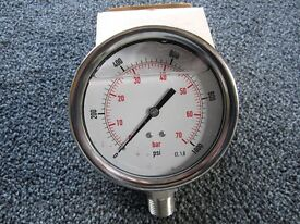 "100mm Pressure gauge, 0 - 1000psi range, 1/2"" NPT thread"