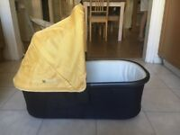 Uppababy carrycot, yellow, in excellent condition. Suitable for use with both Cruz & Vista buggies.