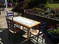 Tiled (italian style with olive design) dining table and 4 chairs - ideal for conservatory/kitchen