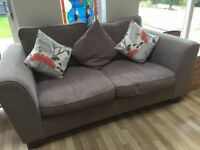MARKS AND SPENCERS MOCHA BROWN - 3+2 SEATER FABRIC SOFAS - MUST GO ASAP - CHEAP DELIVERY - £200