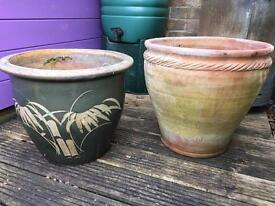 Terracotta pot and glazed China pot