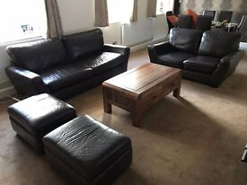 GOOD CONDITION Brown Leather Sofa Set