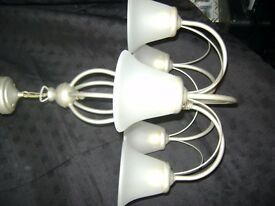 Chandelier Silver grey chandelier,5 x glass opaque shades.Good condition in full working order .£15