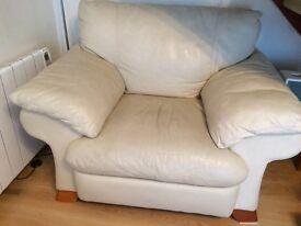 Cream 2 seater sofa plus matching chair