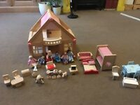Dolls house , wooden , pink panel and accessories