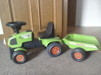Baby claas sit and ride toy tractor