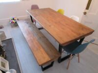 Dining table and Bench, reclaimed wood tops, industrial metal base, vintage style,shabby chic,table