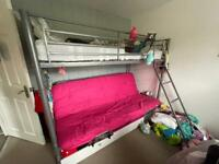 Metal Bunk Bed with Futon