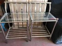 Glass bedside tables x2