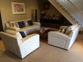 Good condition cream leather sofas. Rarely used. Treatment equipment included! Bought price £1900