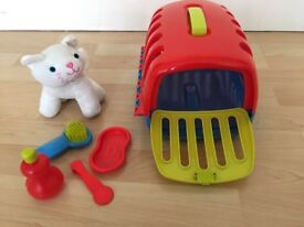 Kids toys cat with carry cage