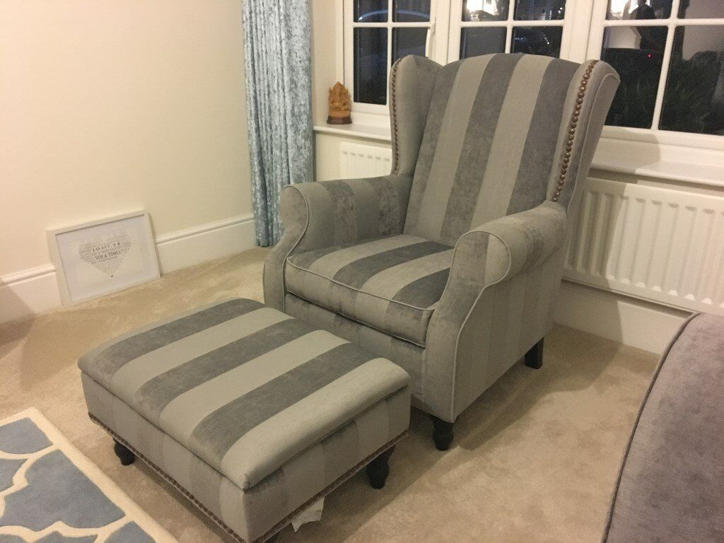 Armchair & Footstool, less than 1 year old & virtually still brand new