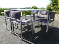 RETRO CHROME KITCHEN DINING TABLE with WHITE WOODEN TOP & SIX CHAIRS