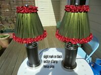 Two sturdy lamps with green and red shades see photo