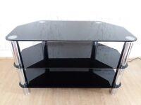 Glass TV Stand, Black, Television Shelves Unit
