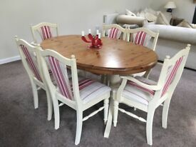 Gorgeous pine dining table & Annie Sloan painted chairs