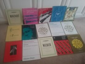 Assorted clarinet music books.