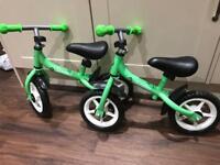 Two balance bikes