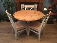 Solid Wood Round Dining Table With Three Chairs