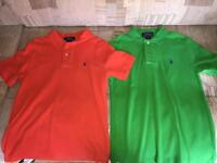 Orange and Green Ralph Lauren Polo shirts