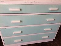 Vintage 1930s Wooden Chest of Drawers - Green and White