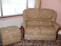 two seat sofa & two armchairs with footstool in floral brocade fabric can be sold separately