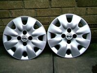 nissan micra 14 inch wheel trims , as new x2 , genuine nissan .