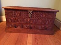 Beautiful African hand carved tropical hardwood chest for sale.