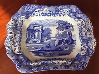 Vintage Copeland Spode Blue Italian Fluted Rectangle Porcelain Vegetable Dish Bowl.