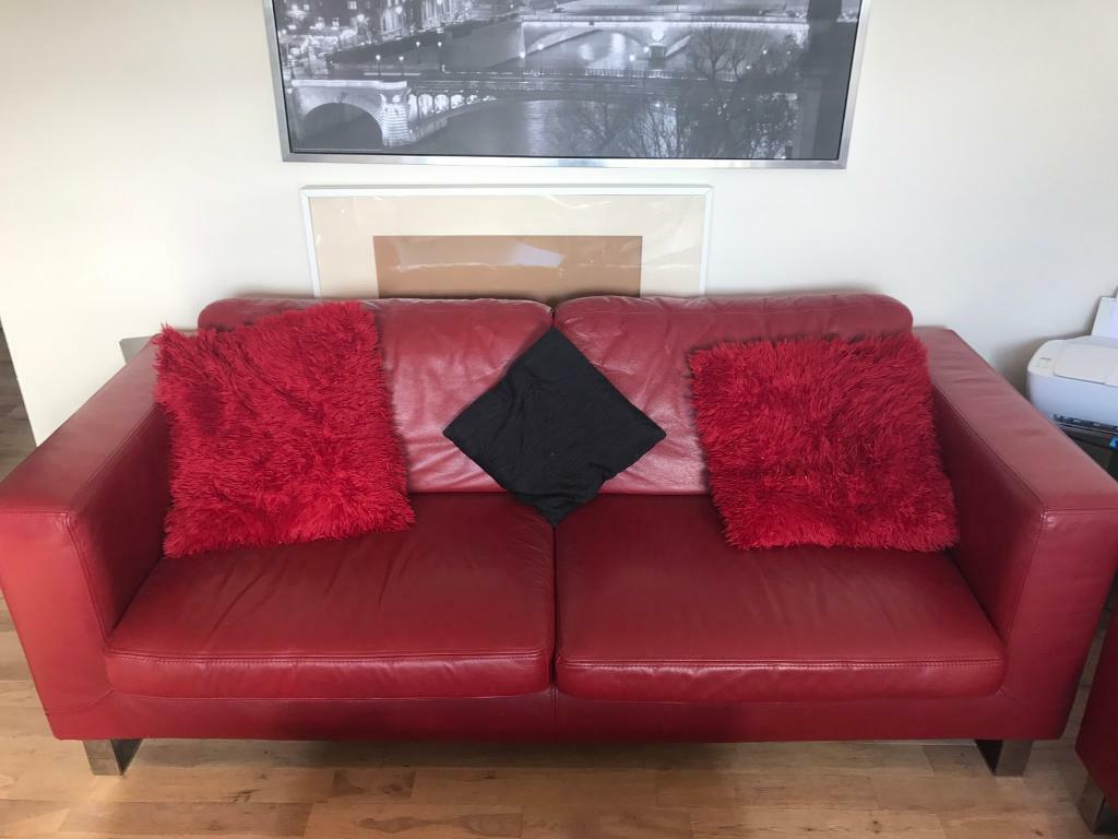 Red Leather Sofas For Sale 3 2 Seater In Granton