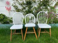 Three Chairs -2 adult chairs & 1 kids vintage high chair.
